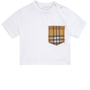 Burberry Check Pocket T-shirt Vit 6 mån