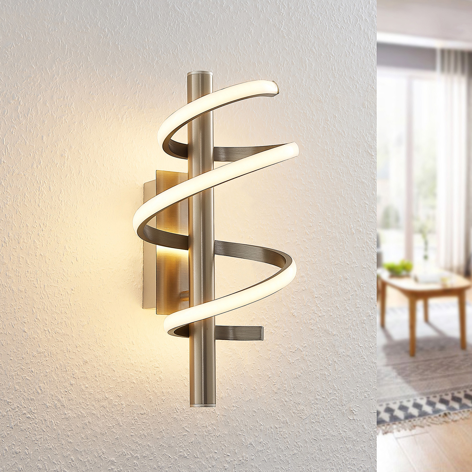 Lucande Milora -LED-kattovalaisin 27 cm, nikkeli
