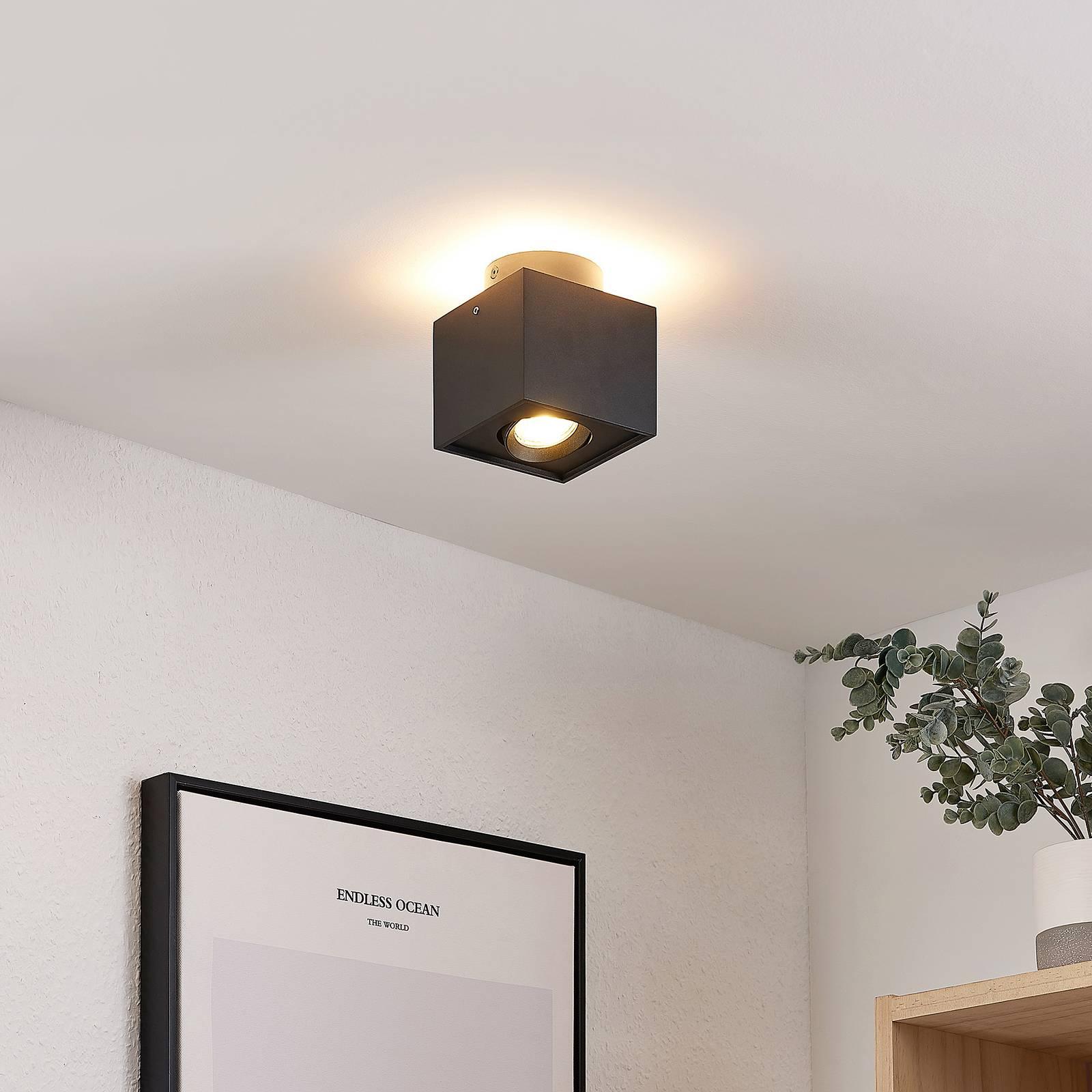 Arcchio Walisa -LED-kattovalaisin, kulmikas, musta