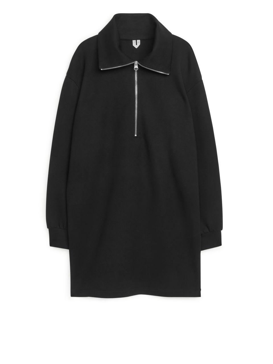 High-Collar Sweatshirt Dress - Black