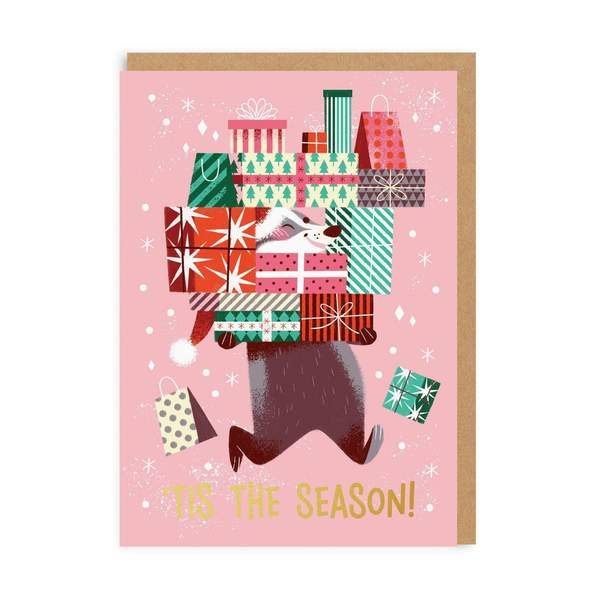 'Tis The Season Badger Christmas Card