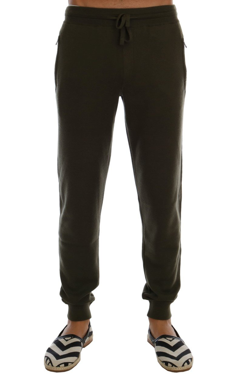 Dolce & Gabbana Men's Cashmere Gym Training Sport Trouser Green PAN60744 - L