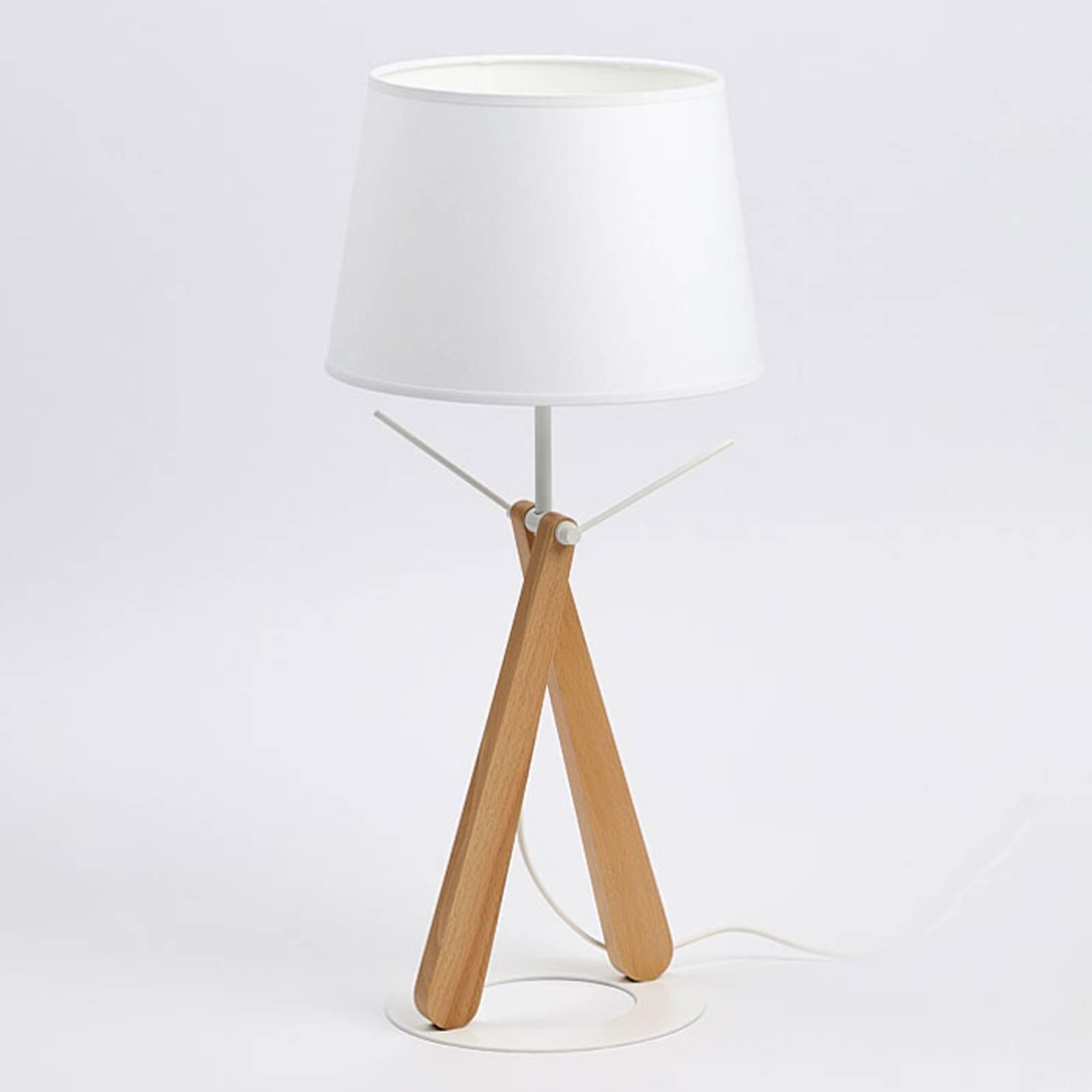 Zazou LT bordlampe hvit/lyst tre