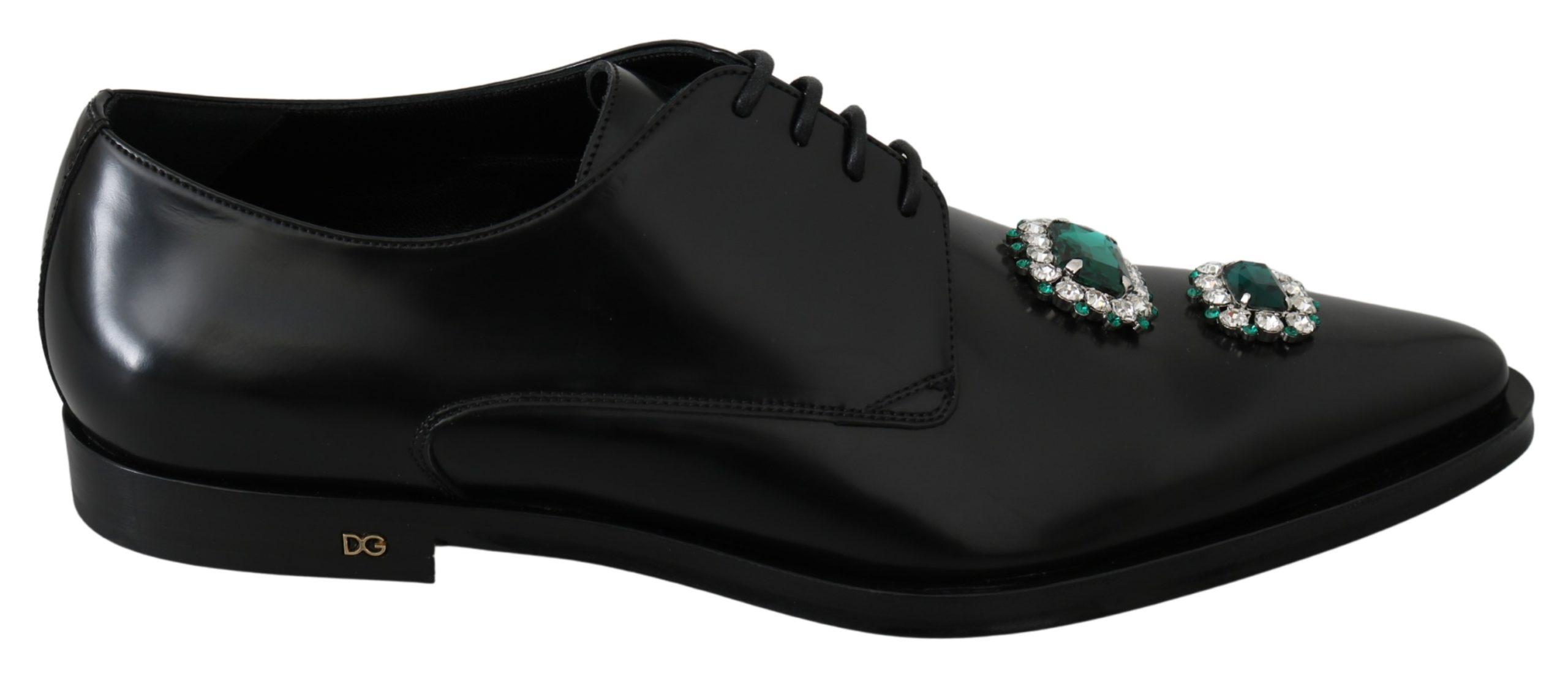 Dolce & Gabbana Men's Leather Crystals Formal Derby Shoe Black MV3014 - EU44/US11