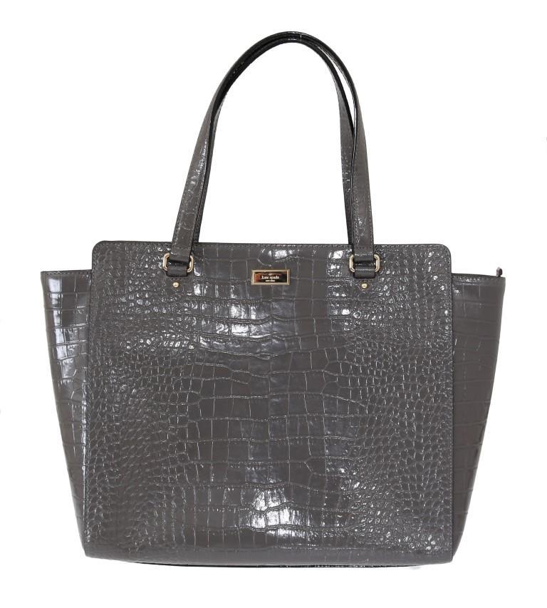 Kate Spade Women's Bristol Drive Croc ELISSA Shoulder Bag Gray VAS1803