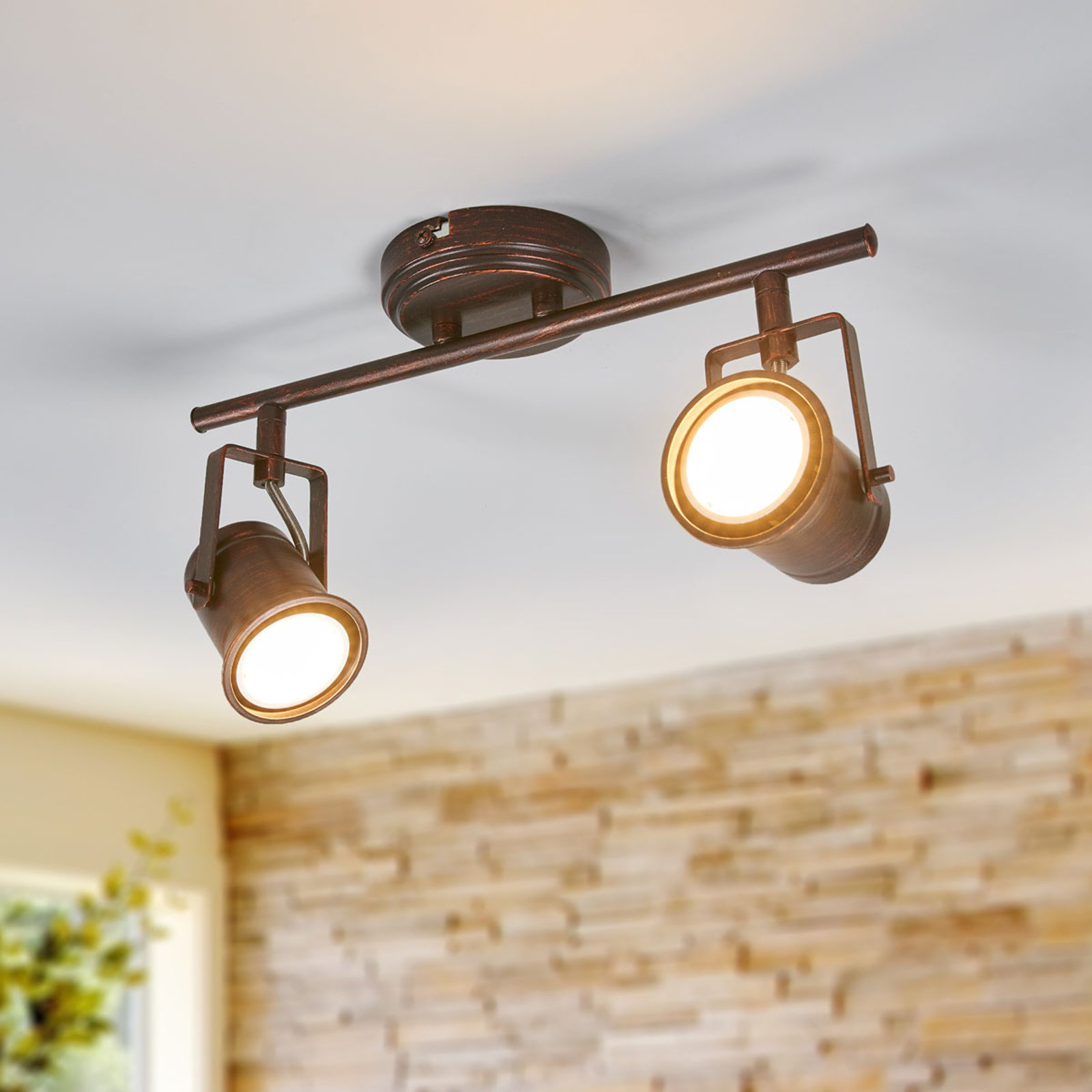 Cansu - LED-taklampe med 2 lys, brun-gull