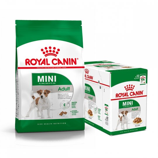 Royal Canin Mini Adult Torrfoder 8 kg + Multipack Våtfoder