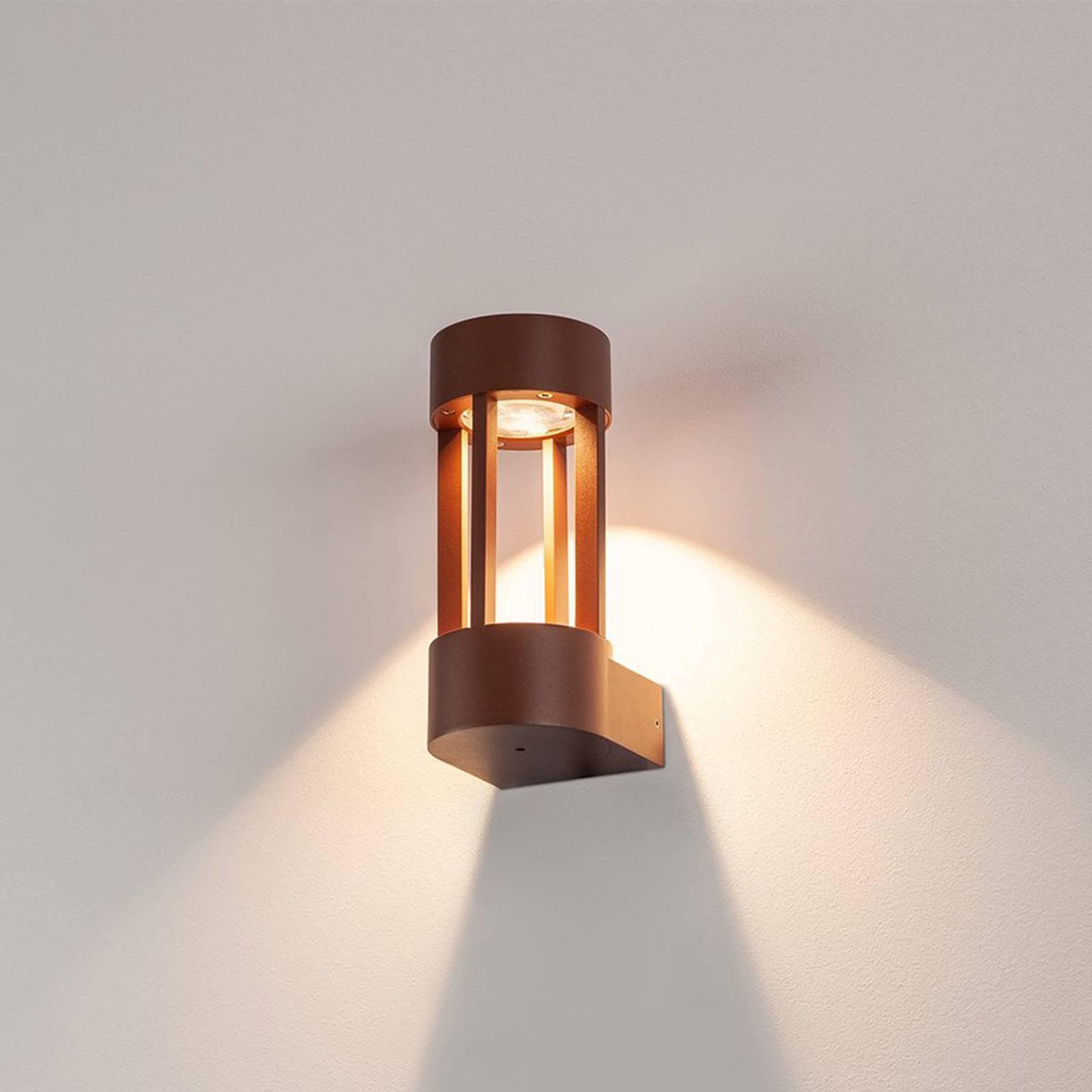 Tiltalende LED-utevegglampe Slots Wall, rust