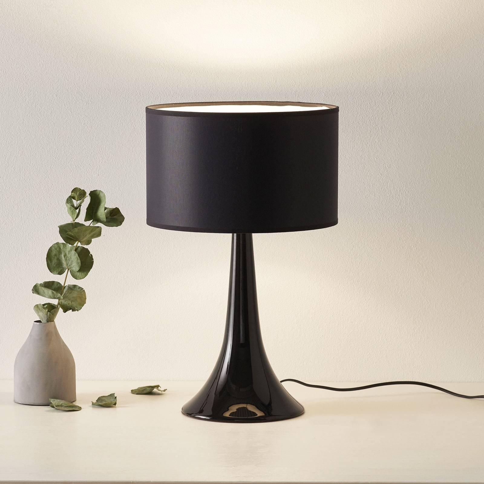 Tekstil-bordlampe L1810 med keramisk fot, svart