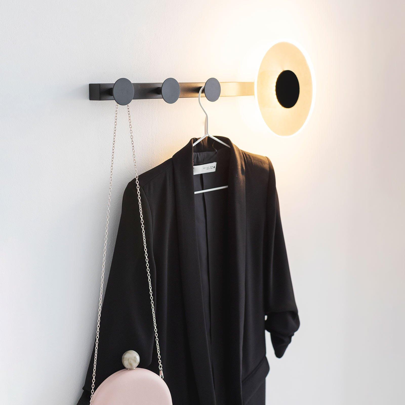 Venus LED-vegglampe, med kleskroker, svart