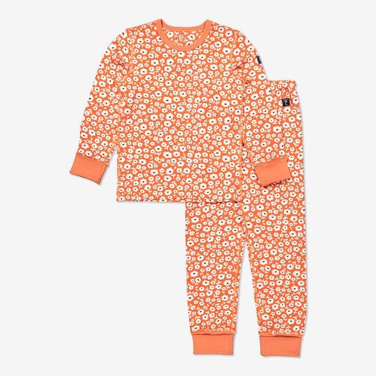 Todelt pyjamas med blomstertrykk orange