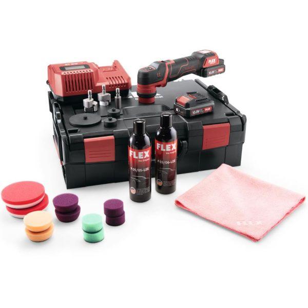 Flex PXE80 10.8-EC P-Set Polermaskin med batterier, lader og tilbehør