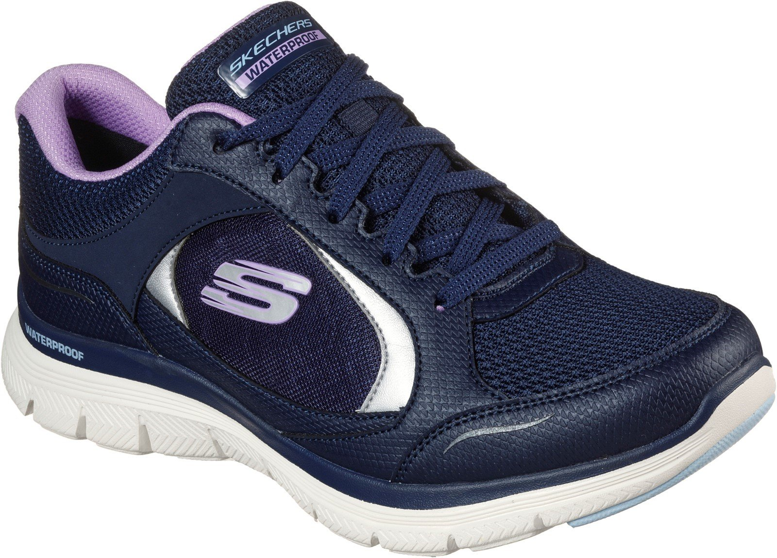 Skechers Women's Flex Appeal 4.0 Clarity Sport Trainer Various Colours 32113 - Navy/Lavender 3