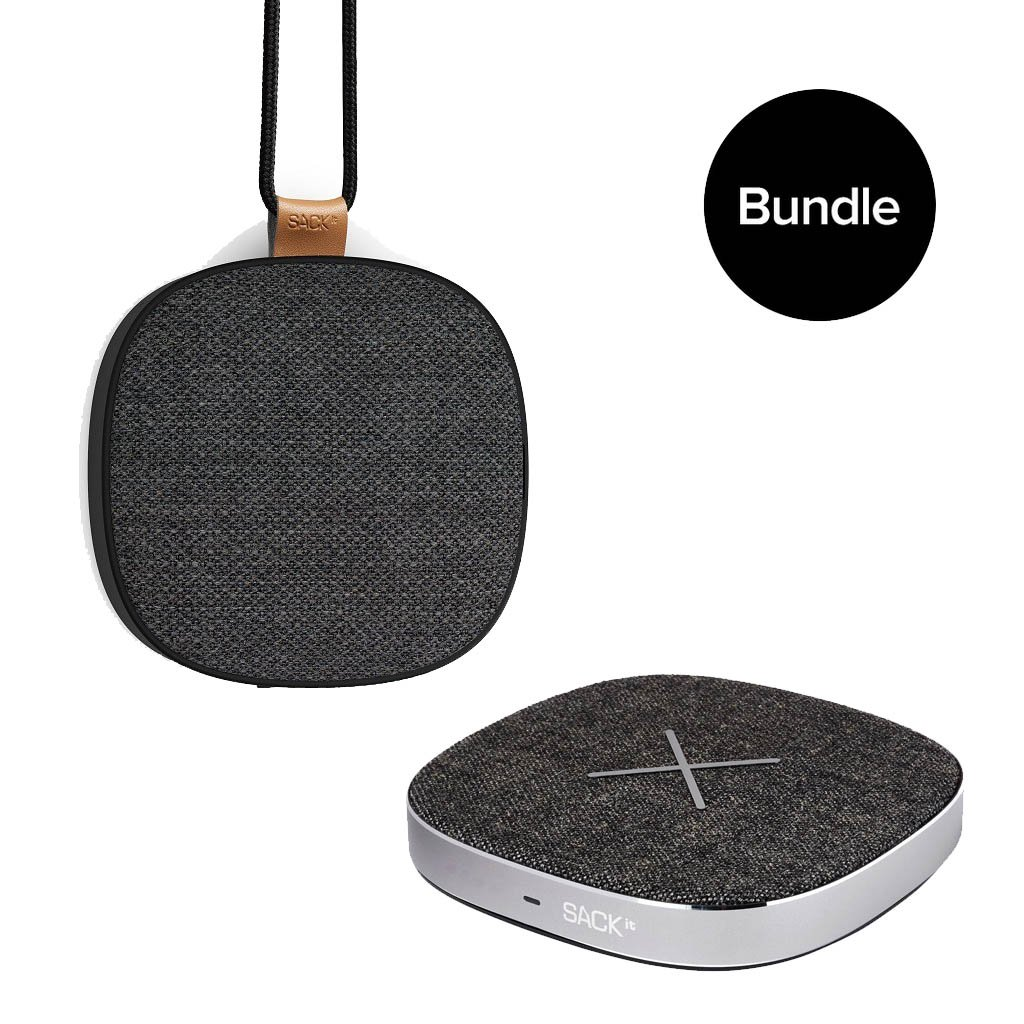 SACKit - WOOFit GO XQ Wireless Charging Bluetooth Speaker + CHARGEit Dock Wireless Charger - Bundle