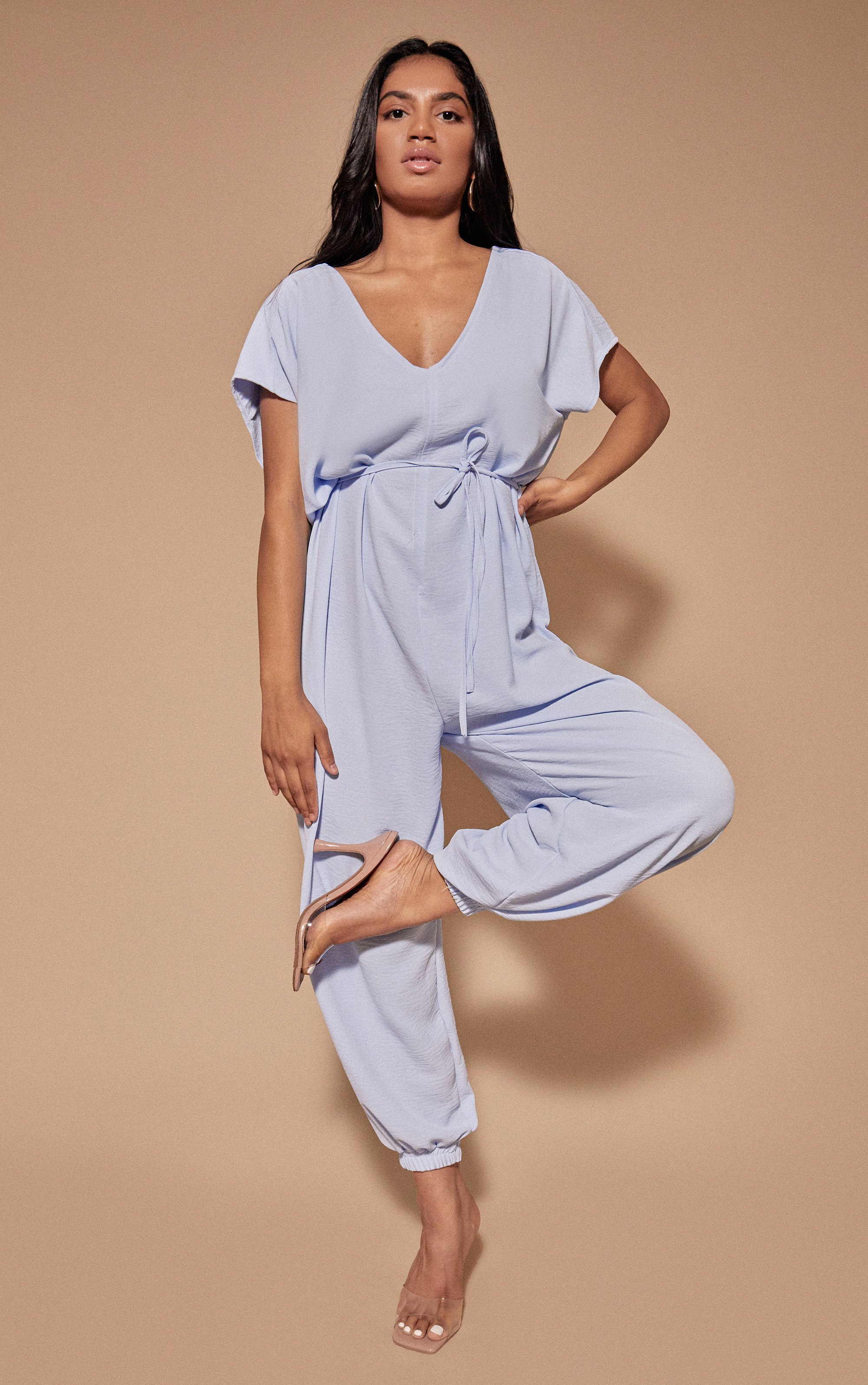 Harem Tie Waist Jumpsuit - Baby Blue / One Size (8-12)
