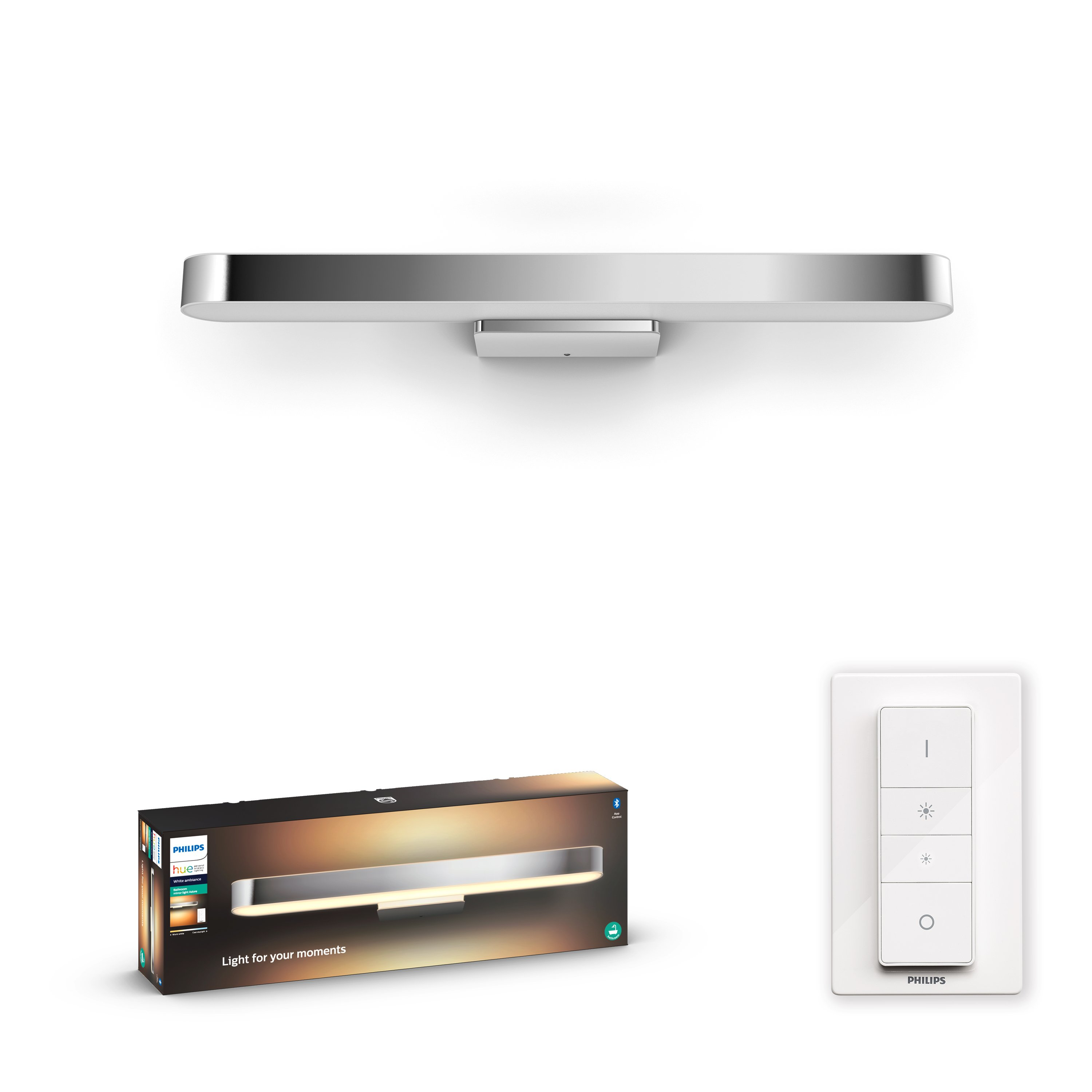 Philips Hue - Adore Hue Wall Lamp Chrome - White Ambiance - Bluetooth Included Dimmer switch