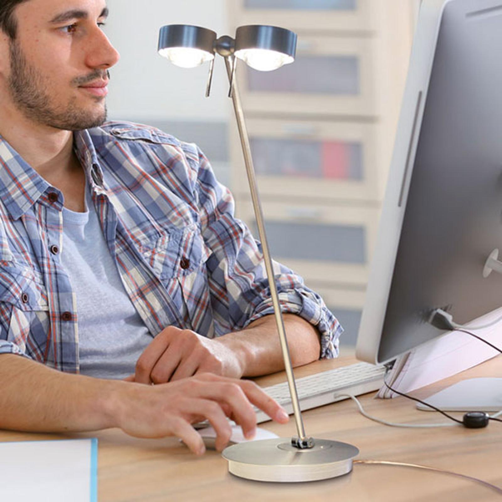 LED-pöytävalaisin Puk Table Twin, matta kromi