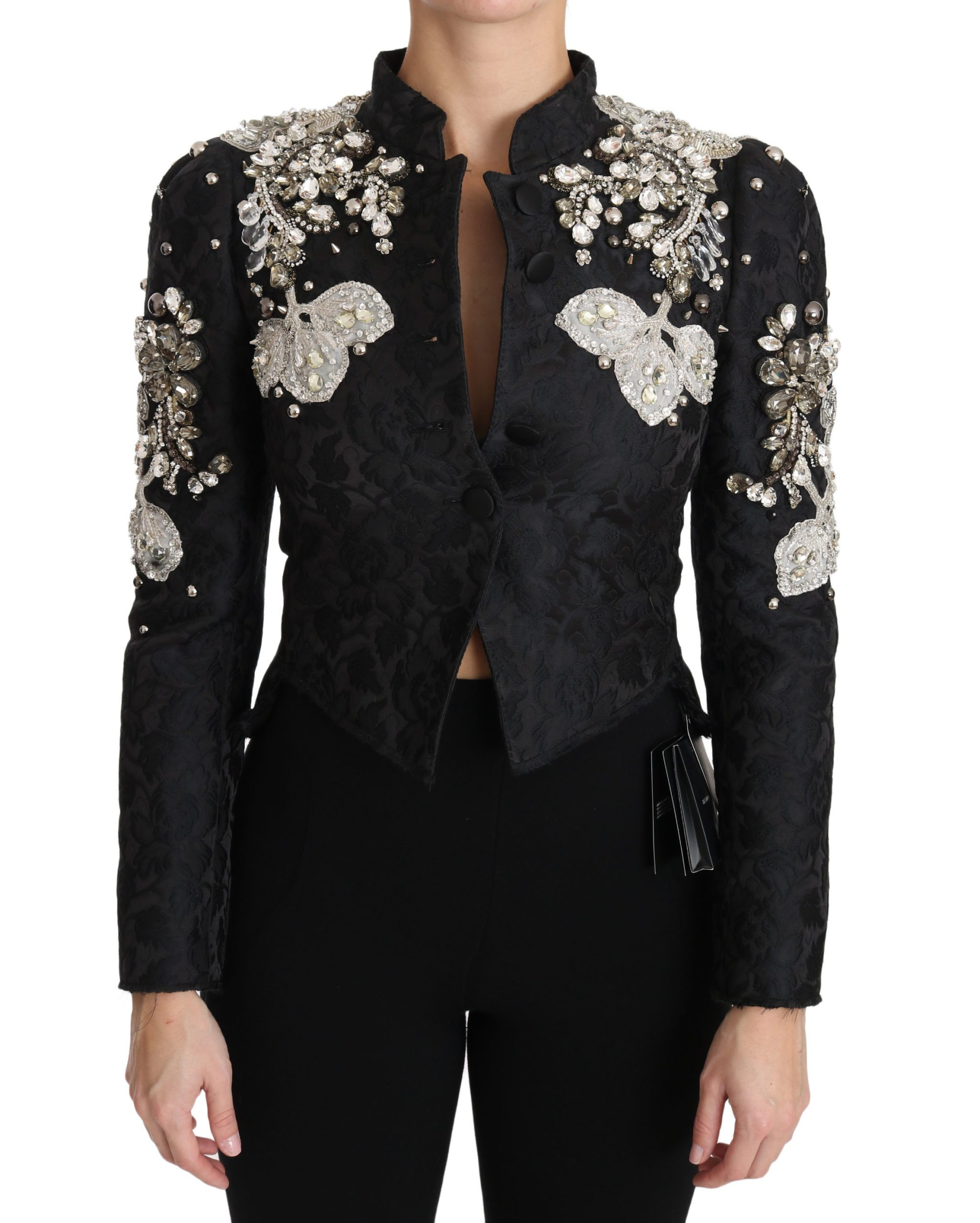 Dolce & Gabbana Women's Jacquard Crystal Floral Jacket Black JKT2403 - IT38|XS