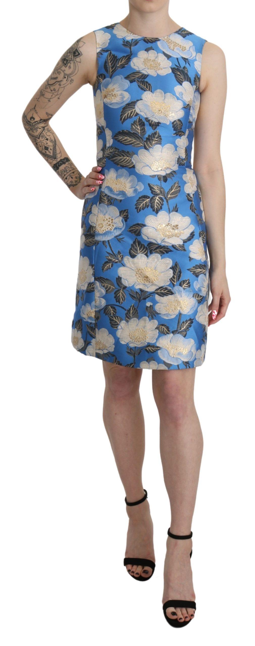 Dolce & Gabbana Women's Jacquard Floral Mini Dress Blue DR2612 - IT36   XS