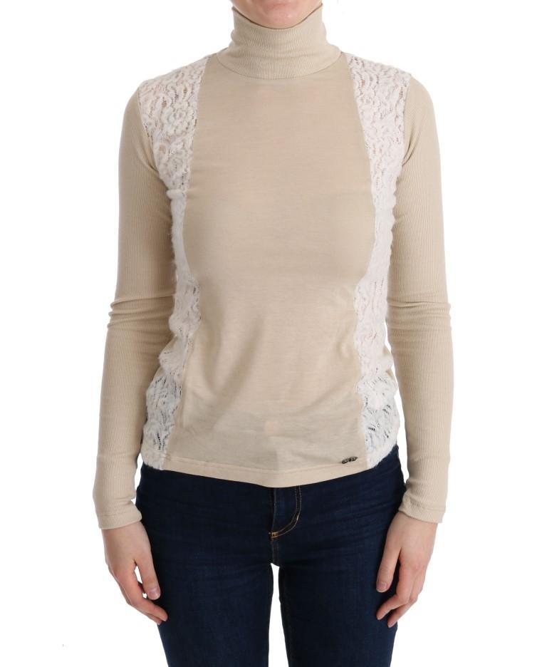 Costume National Women's Turtleneck Viscose Sweater Beige TUI10011 - XS