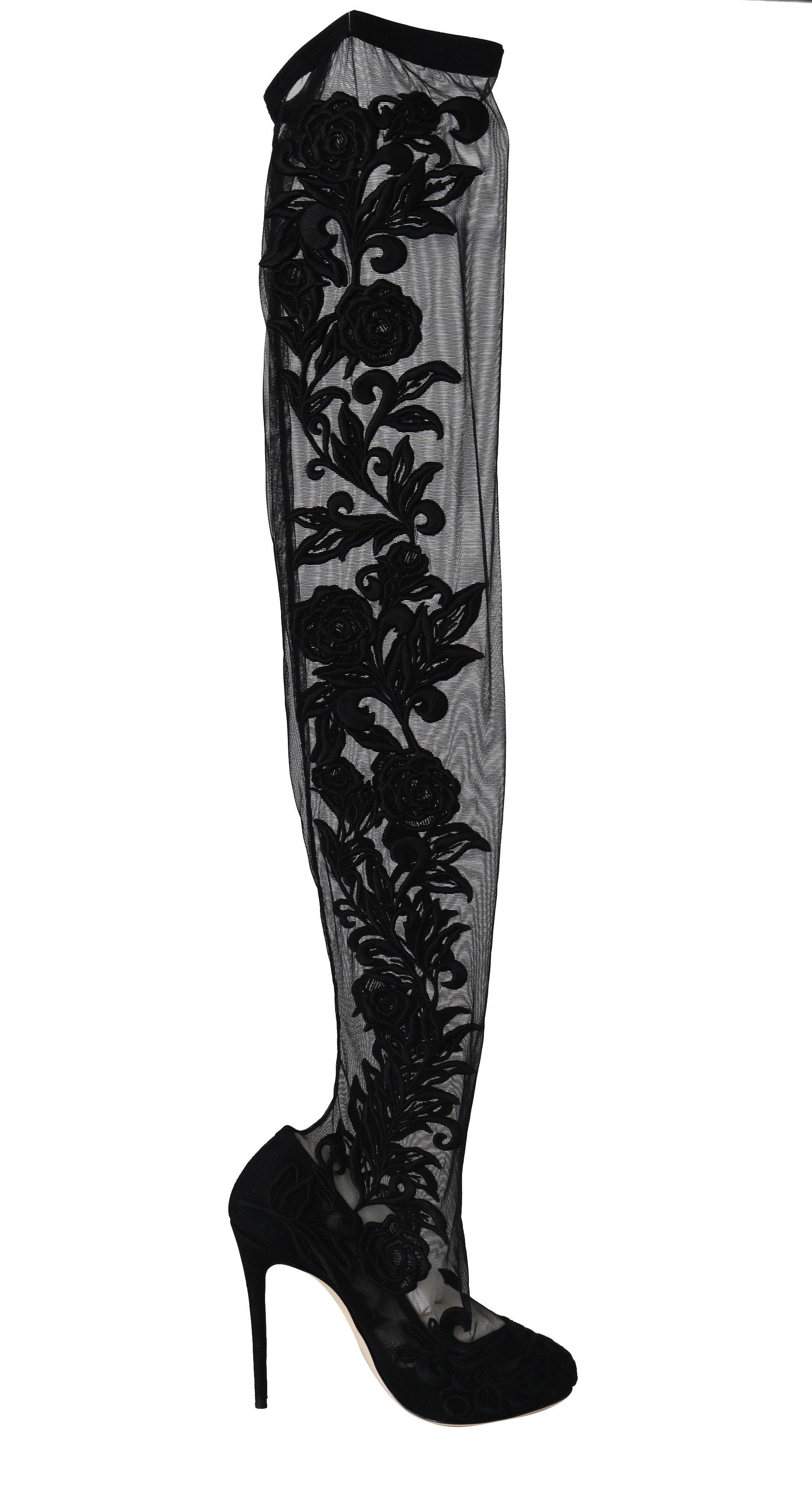 Dolce & Gabbana Women's Floral Lace Booties Heels Black LA5687 - EU38.5/US8