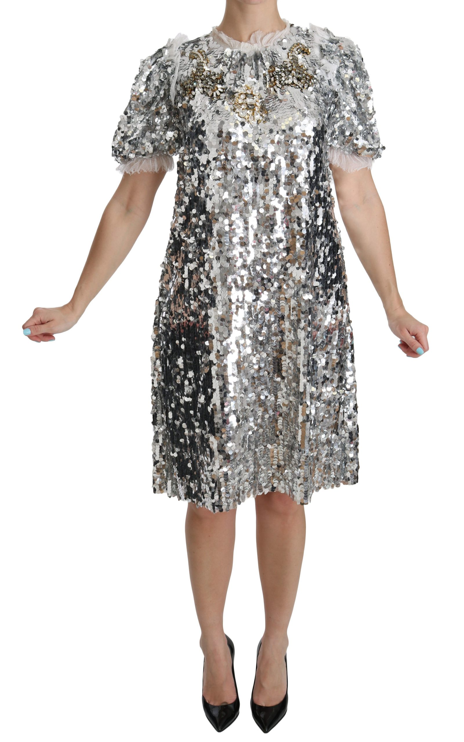 Dolce & Gabbana Women's Sequined Crystal Shift Gown Dress Silver DR2045 - IT40 S