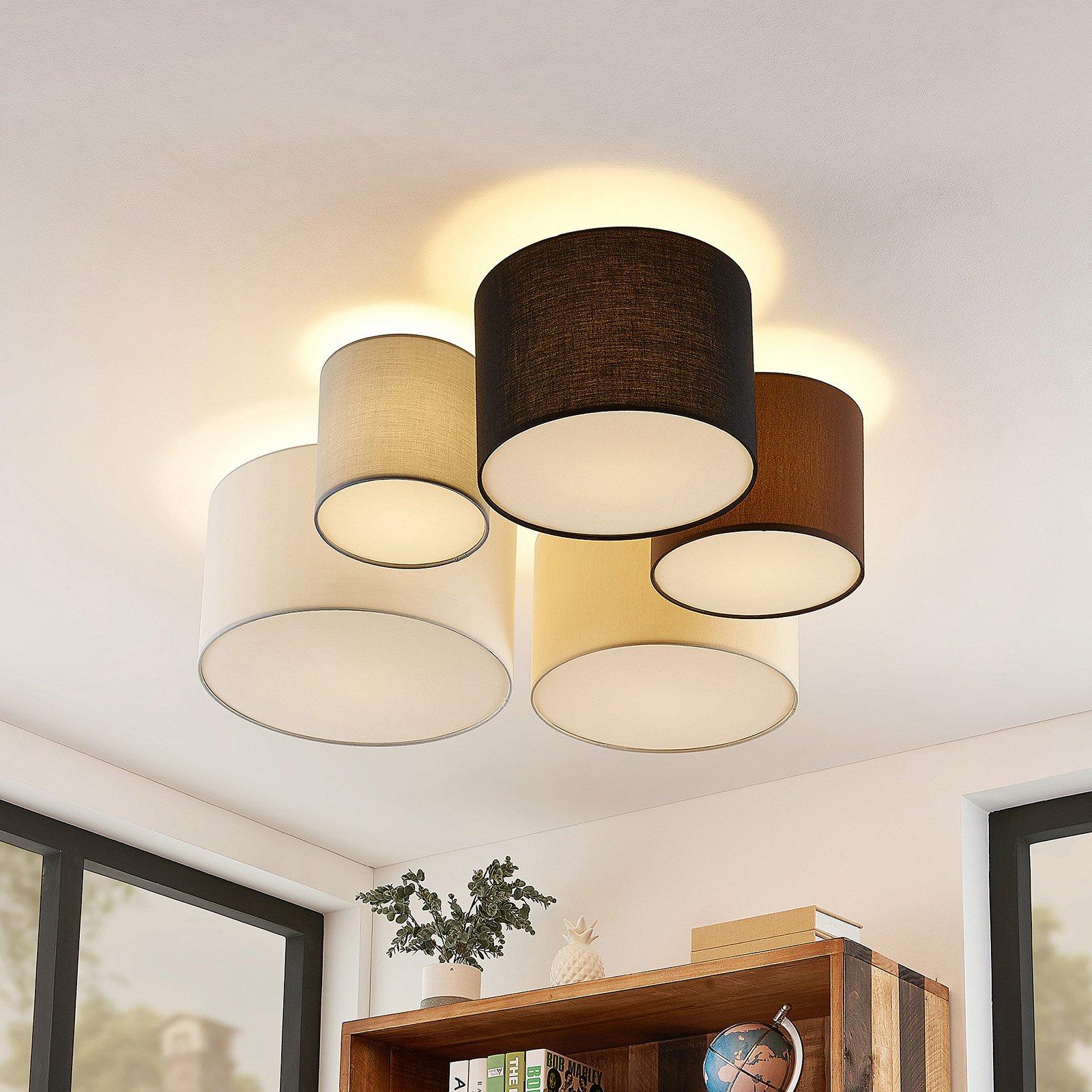 Lindby Laurenz taklampe, 5 lys 90cm brun-beige