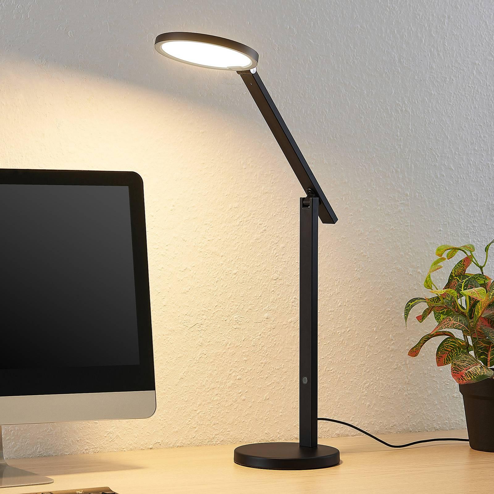 Lucande Felkano -LED-pöytälamppu, musta