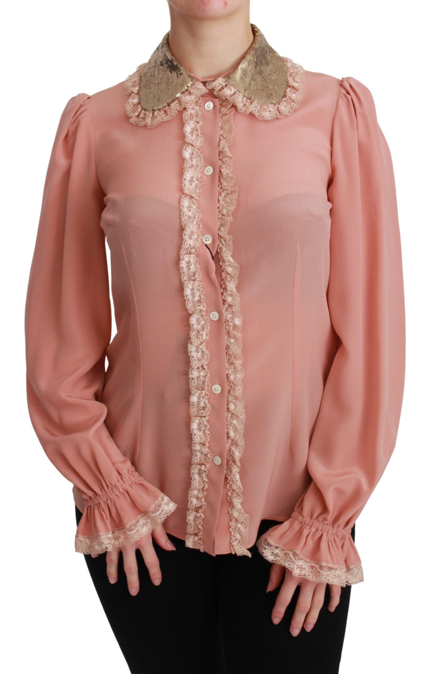 Dolce & Gabbana Women's Sequin Lace Shirt Yellow TSH4663 - IT38 XS