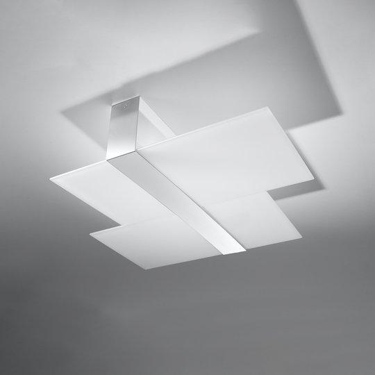 Taklampe Shifted, to glassavsnitt, krom