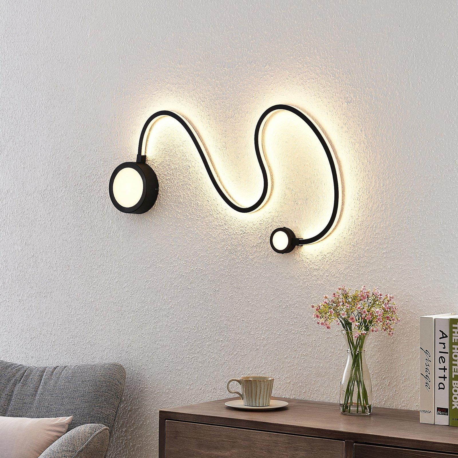 Lindby Rion LED-vegglampe, svart