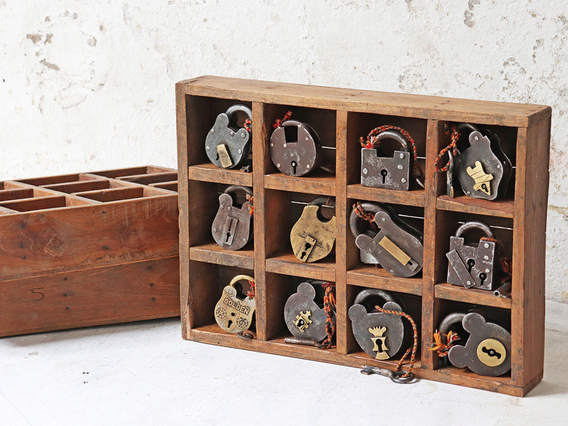 Vintage Wooden Box With 12 Compartments Brown