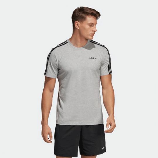 Adidas Essential 3 Stripe Tee, Grey