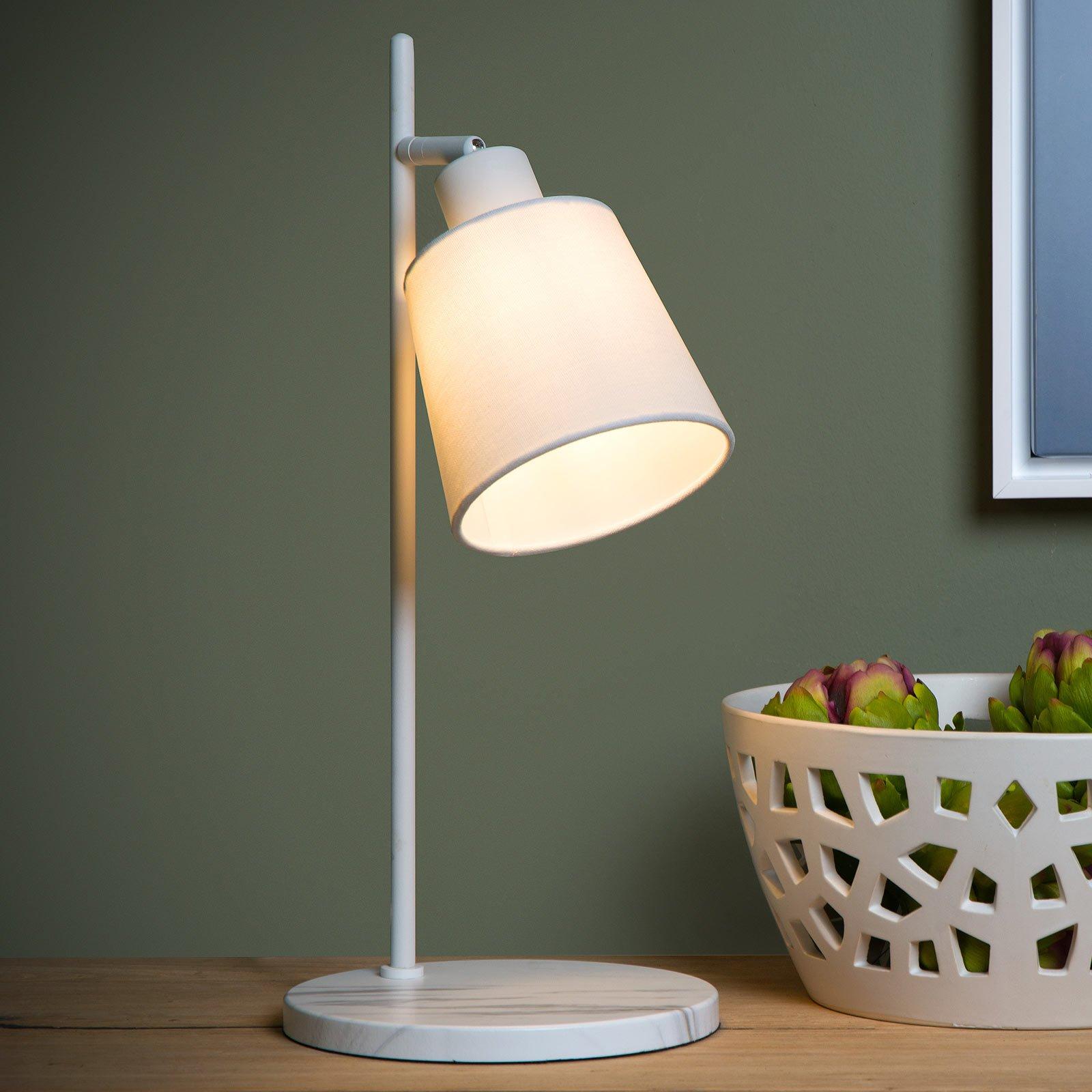 Pippa bordlampe med tekstilskjerm, hvit