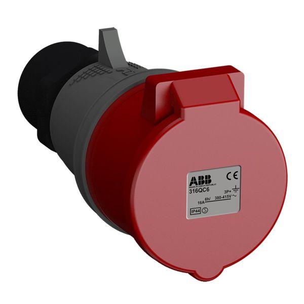 ABB 2CMA102306R1000 Jatkopistorasia pikaliitettävä, tärinänkestävä Punainen, 16 A, 4-napainen, IP44