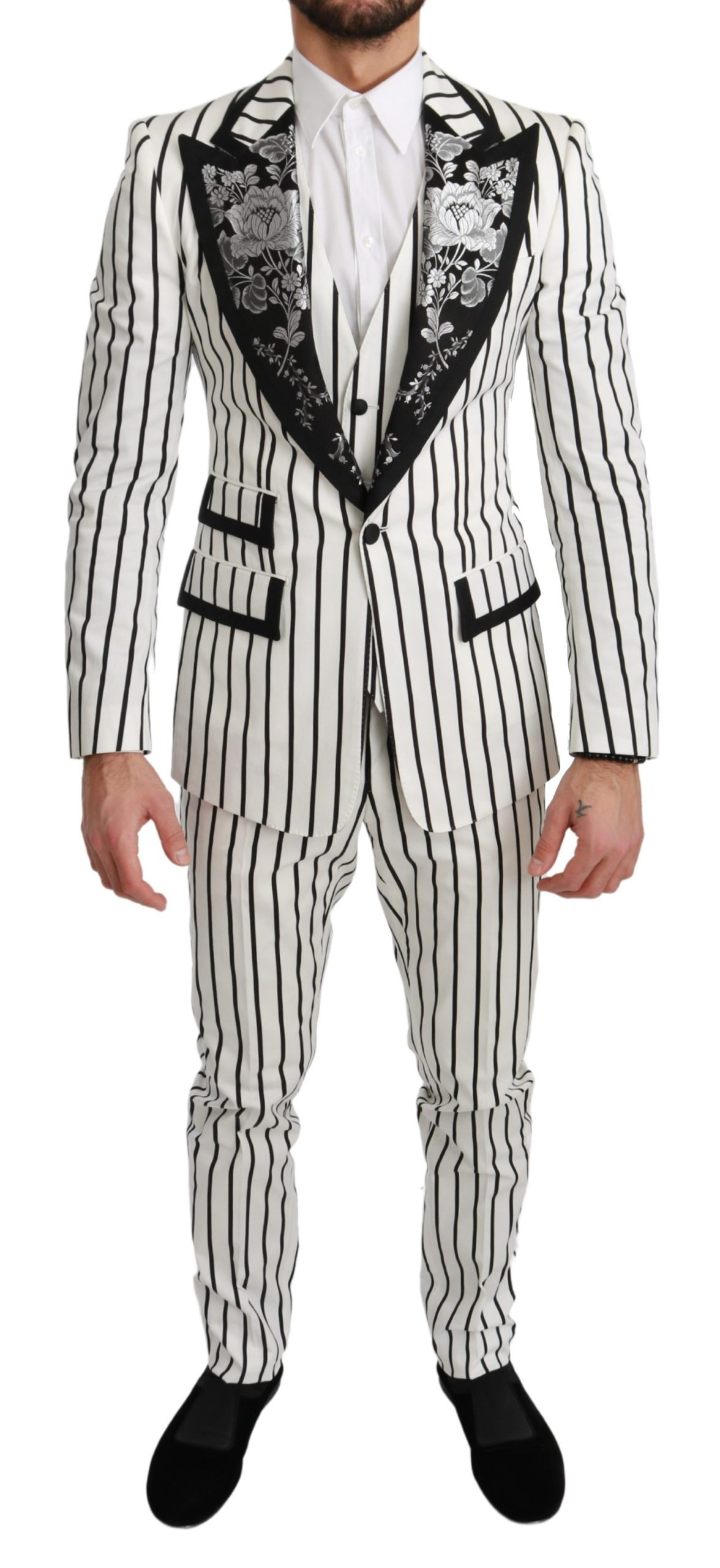 Dolce & Gabbana Men's Striped Floral 3 Piece White Suit White KOS1702 - IT46   S