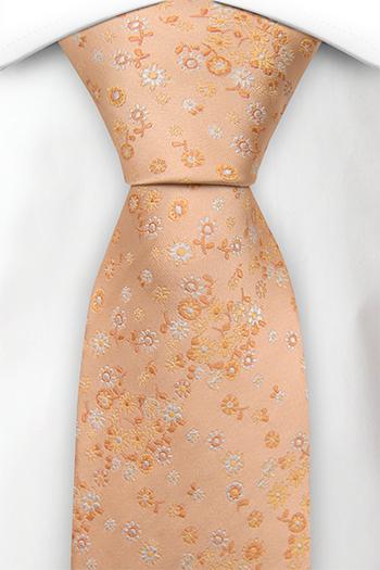 Silke Slips, Ensfarget aprikos & hvite, gule & orange blomster