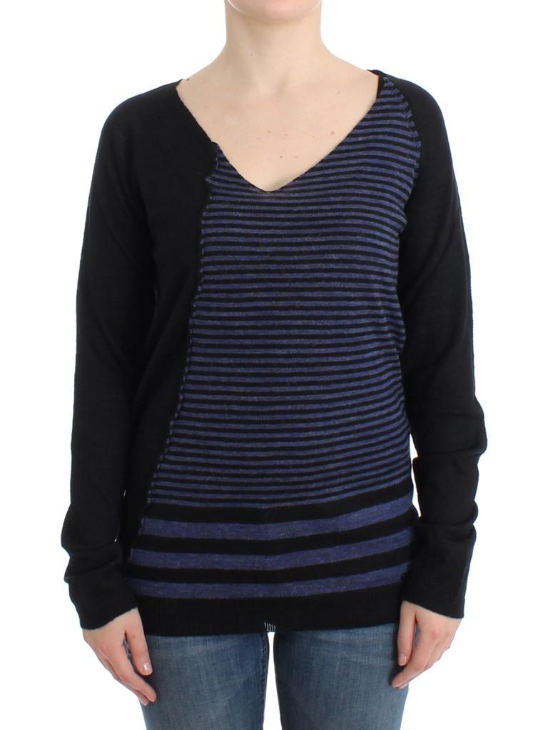 Costume National Women's Striped V-neck Sweater Black SIG12052 - M