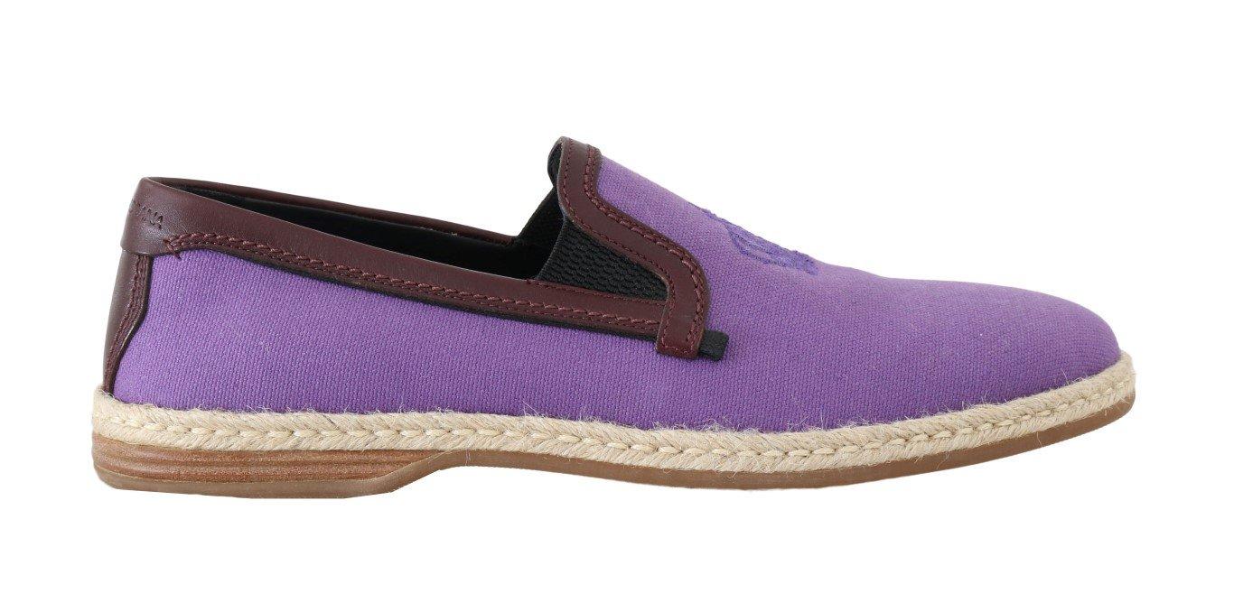 Dolce & Gabbana Men's Cotton Leather Crown Loafers Purple MV1650 - EU40/US7