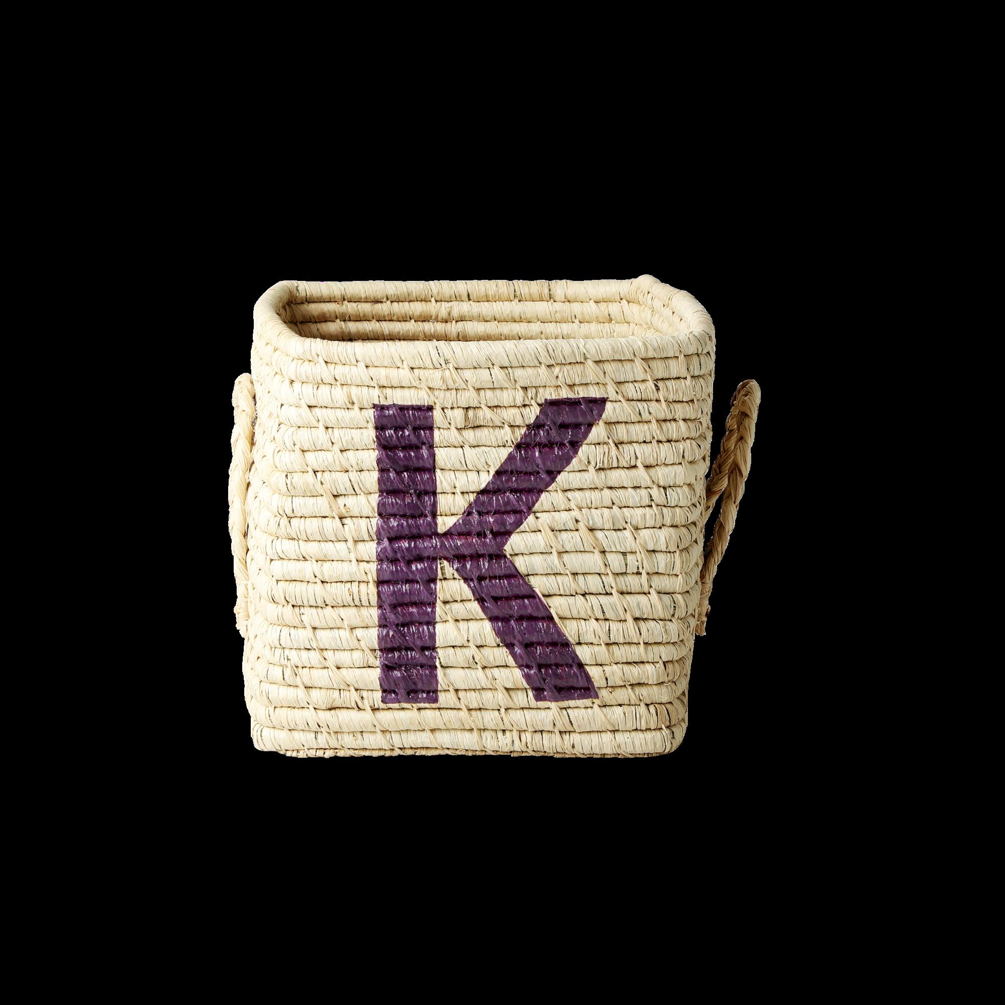 Rice - Raffia Square Basket w. Painted Letter - K
