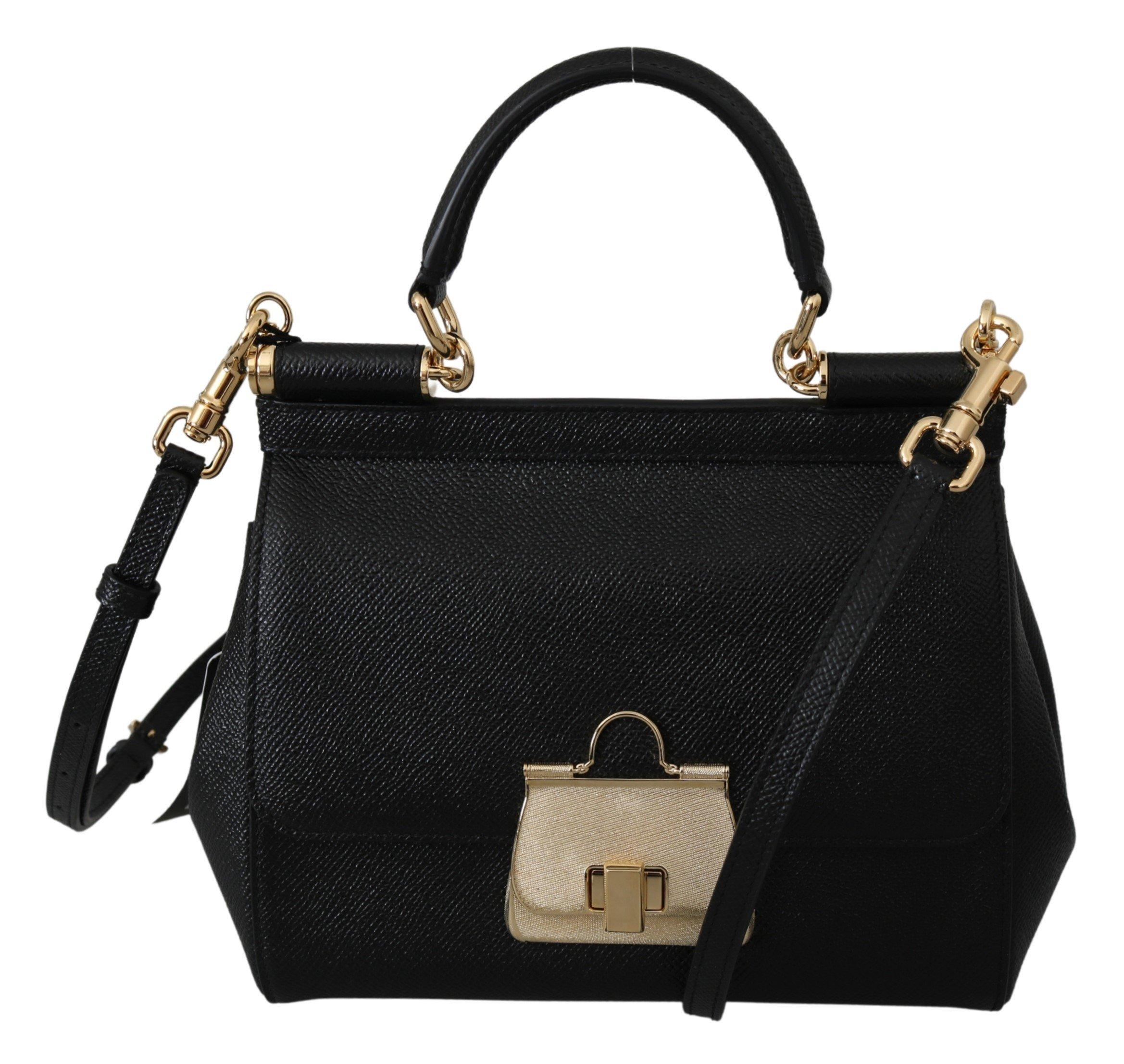 Dolce & Gabbana Women's SICILY Leather Shoulder Bag Black VAS9949
