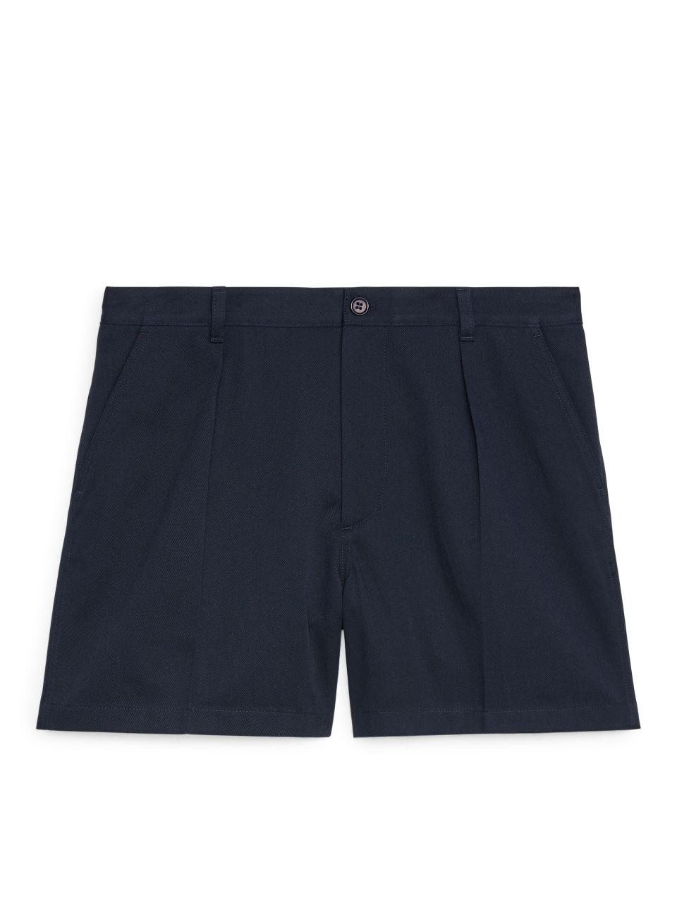 Pleat-Detail Shorts - Blue