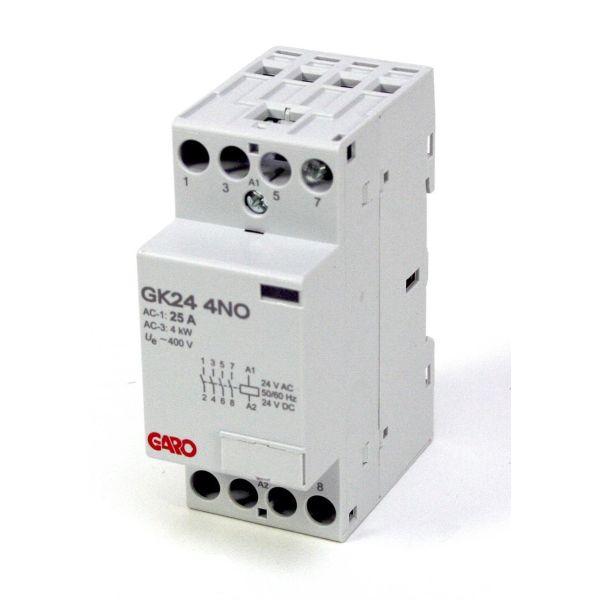 Garo GK24 4NO 24V ACDC Kontaktor 4-polet, 16 A, lukkede