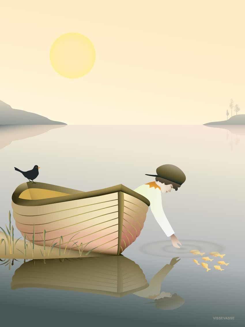 ViSSEVASSE Juliste Boy in a boat 30x40