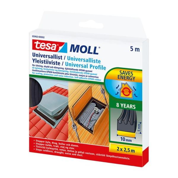 Tesa Universal 05962-00002-01 Tetningslist 5 m, 10 mm, 5 mm, svart