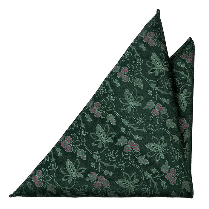 Silke Lommetørkler, Ljusgröna Blomster, mörkgrön bas, mörkrosa Prikker