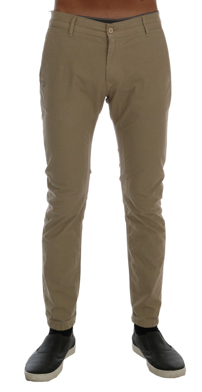 Daniele Alessandrini Men's Cotton Stretch Slim Fit Trouser Beige TSH1382 - W30