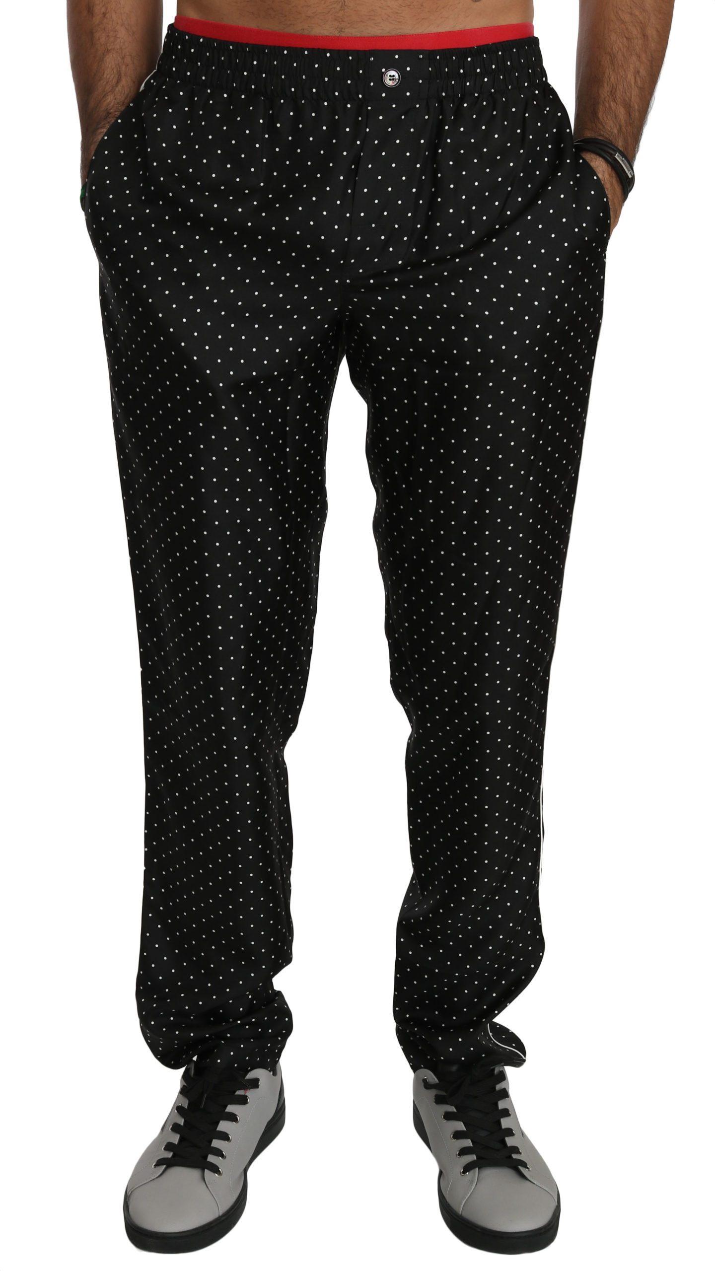 Dolce & Gabbana Men's Polka Dots Silk Trouser Black PAN70749 - IT46 | S