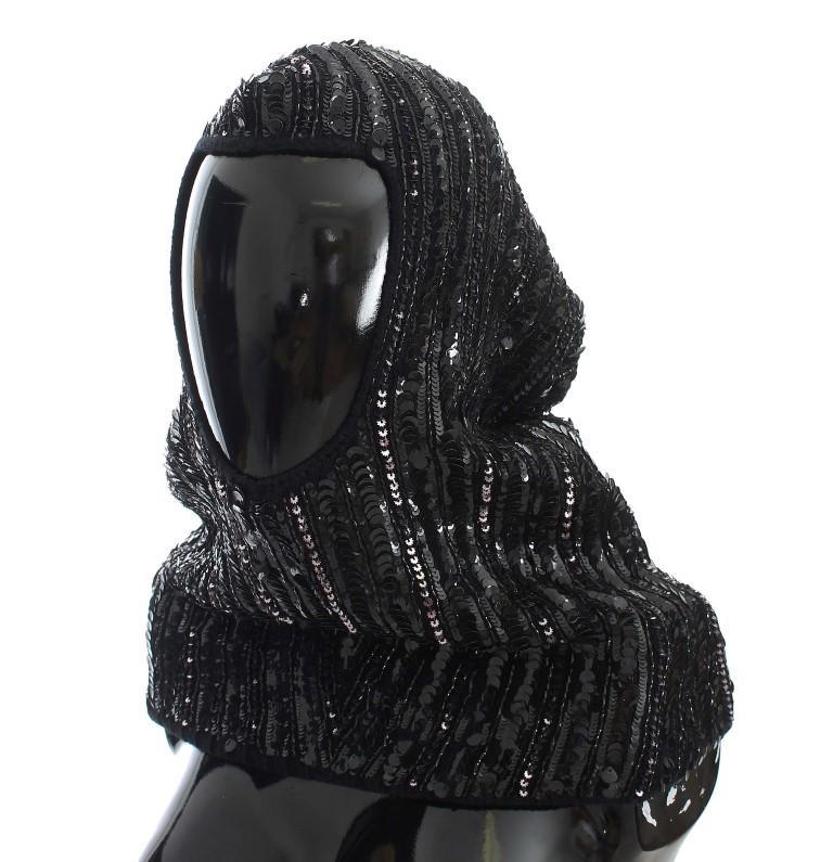 Dolce & Gabbana Women's Knitted Sequin Hood Scarf Hat Black MS907
