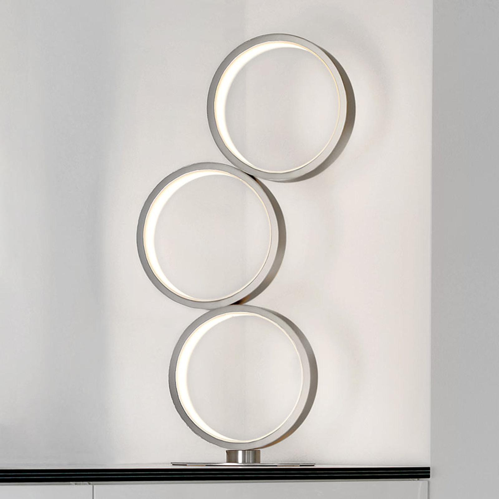 LED-pöytälamppu Loop, kolme rengasta